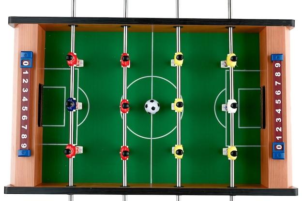 Mini piłka nożna na odosobnionej przestrzeni, widok z góry. wysokiej jakości zdjęcie