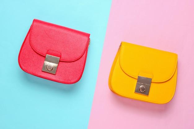 Mini torebki z czerwonej i żółtej skóry