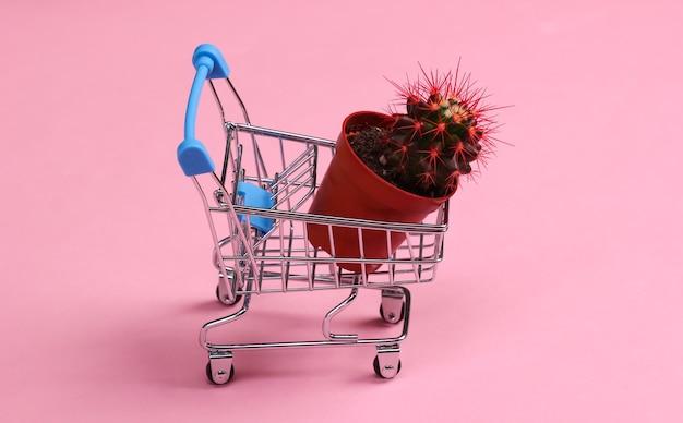 Mini wózek supermarketowy z doniczką na kaktusy na różowym pastelowym kolorze