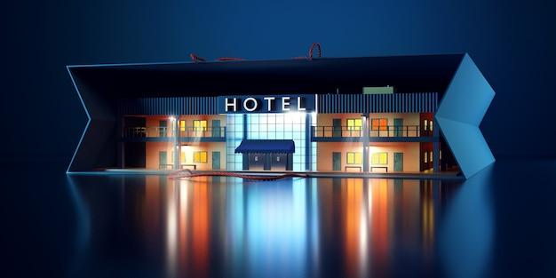 Miniatura budynku hotelowego.