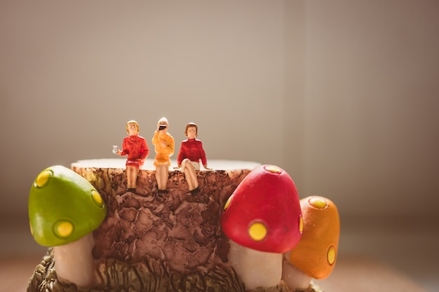 Miniaturowi ludzie, grupa kobieta siedzi na pieczarkowym szalunku używać dla wakacyjnego pojęcia - rocznika filt