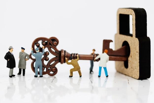 Miniaturowi ludzie: grupy biznesowe pracowały, aby odblokować klucz.