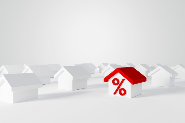 Miniaturowy dom z czerwonym dachem z ikoną procentu wśród białych domów dla branży nieruchomości. ilustracja 3d