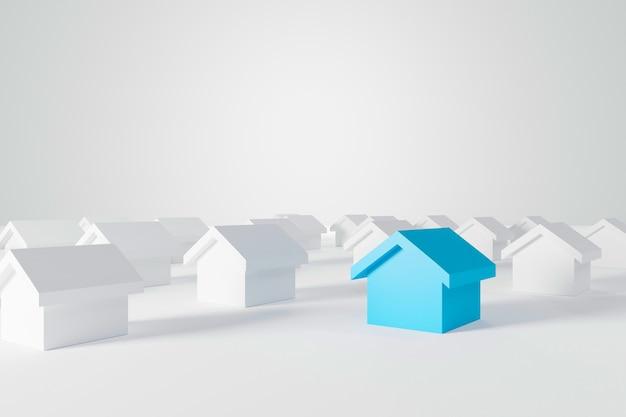 Miniaturowy niebieski dom wśród białych domów dla branży nieruchomości. ilustracja 3d