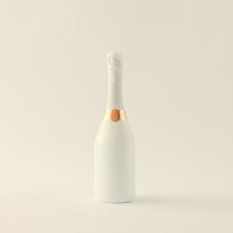 Minimalistyczna biała butelka szampana na białej powierzchni
