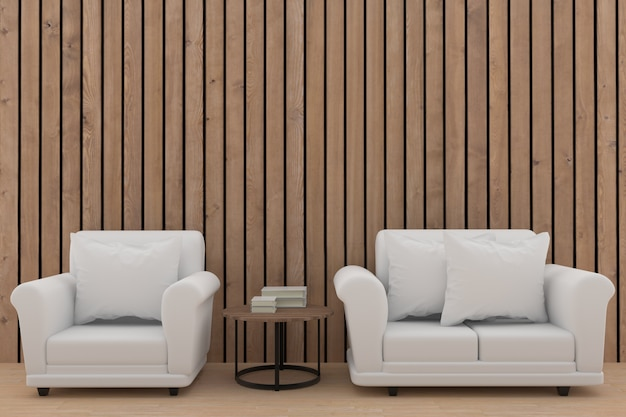 Minimalistyczna biała kanapa ustawia projekt w drewnianym pokoju w 3d renderingu