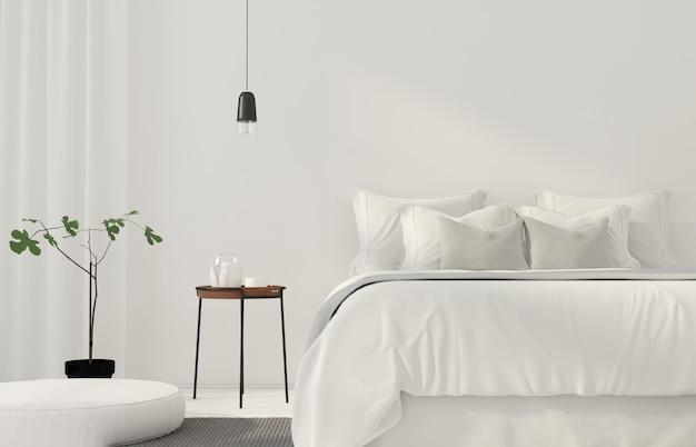 Minimalistyczna biała sypialnia