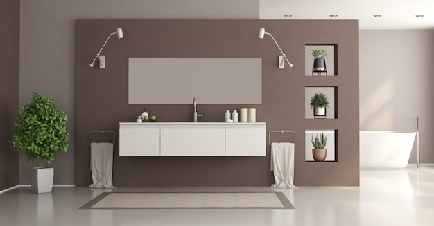 Minimalistyczna biało-brązowa łazienka do domu z umywalką i wanną