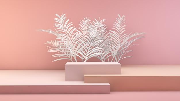 Minimalistyczna geometryczna scena z liśćmi palmowymi