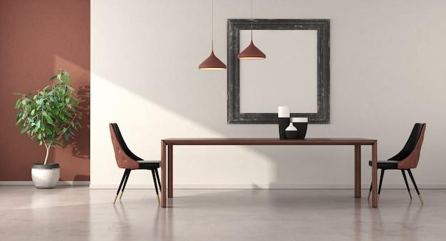 Minimalistyczna jadalnia z drewnianym stołem i eleganckimi krzesłami