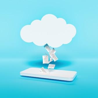Minimalistyczna makieta nowoczesnego telefonu komórkowego z dokumentami przesyłanymi do chmury