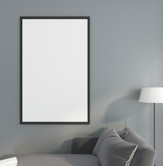 Minimalistyczna ramka na zdjęcie z rozkładaną sofą i lampą podłogową. renderowanie 3d