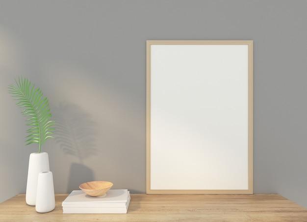 Minimalistyczna ramka na zdjęcie z szarą ścianą. renderowanie 3d