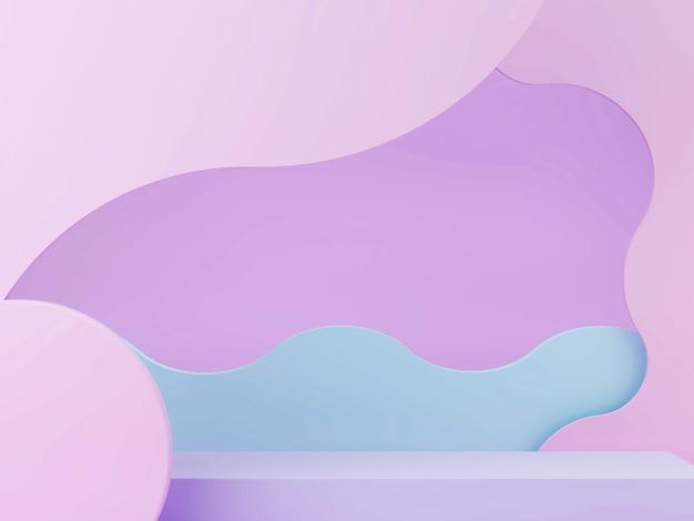 Minimalistyczna scena 3d z geometrycznymi formami, podium i zakrzywionym abstrakcyjnym tłem w pastelowych kolorach.