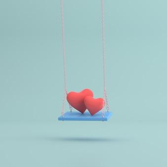 Minimalistyczna scena niebieskiej huśtawki z dwoma sercami.