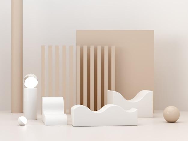 Minimalistyczna scena pastelowych kolorów z geometrycznymi formami i zakrzywionym podium do wyświetlania produktów
