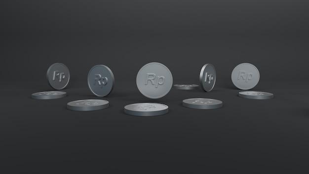 Minimalistyczna srebrna moneta rupia 3d render ilustracja tło tapeta tło