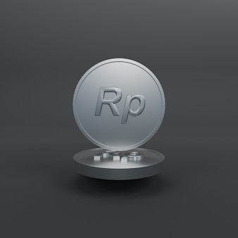 Minimalistyczna srebrna moneta rupia 3d render ilustracji