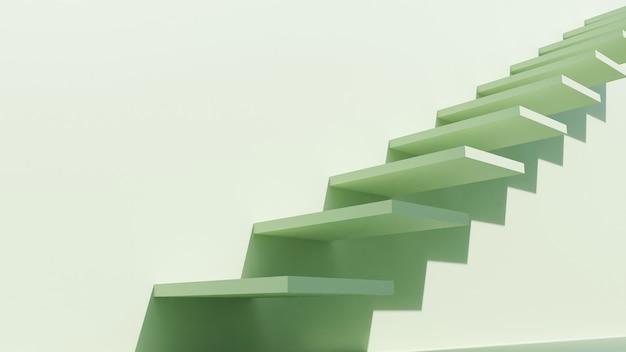 Minimalistyczna stylistyka budynków architektonicznych ze schodami, obudowa na pastelowych kolorach, prezentacja, cień i cień. renderowanie 3d.