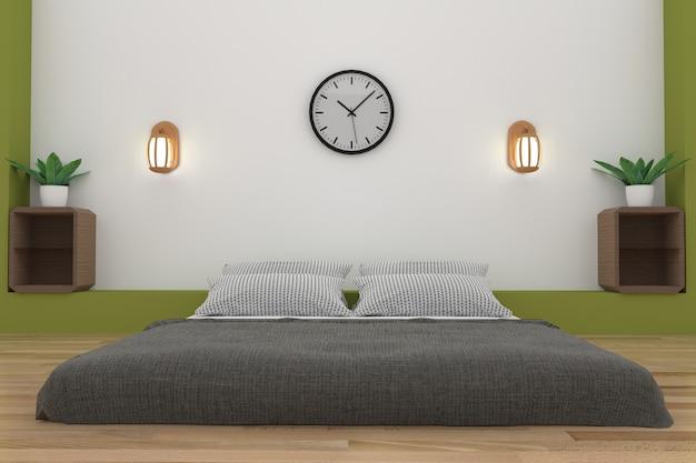 Minimalistyczna sypialnia w biało-zielonym pokoju w renderowaniu 3d