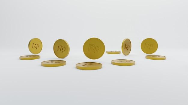 Minimalistyczna złota moneta rupia 3d render ilustracja tło tapeta tło
