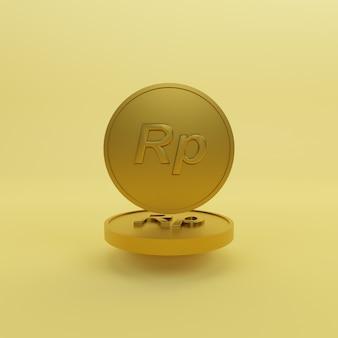 Minimalistyczna złota moneta rupia 3d render ilustracji