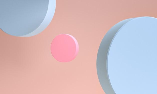 Minimalistyczne abstrakcyjne prymitywne figury geometryczne, pastelowe kolory, renderowania 3d