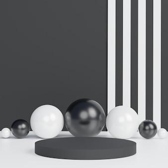 Minimalistyczne czarne tło motywu. 3d streszczenie minimalne formy geometryczne. błyszczące luksusowe podium dla twojego projektu.