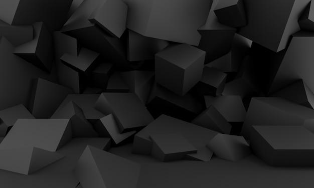 Minimalistyczne czarne tło z kwadratowymi geometrycznymi kształtami