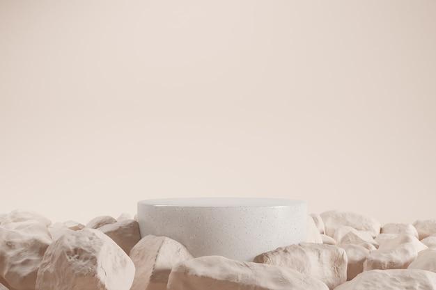 Minimalistyczne granitowe podium otoczone kamieniami