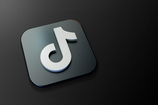 Minimalistyczne logo 3d tiktiok z pustą przestrzenią