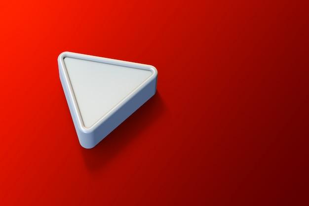 Minimalistyczne logo youtube 3d z pustą przestrzenią