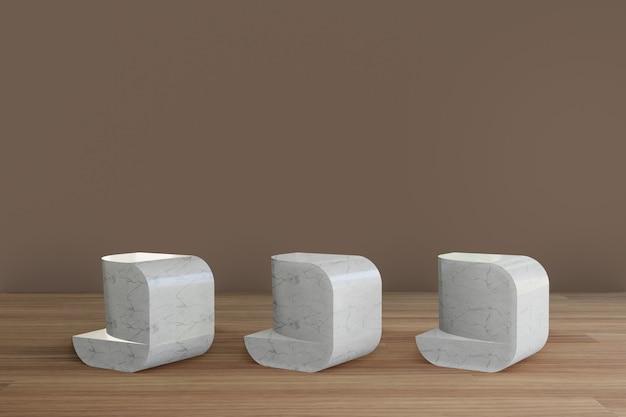 Minimalistyczne marmurowe podium geometryczne z drewnianą podłogą