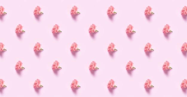 Minimalistyczne mieszkanie leżało z kwiatami goździka na dzień matki, walentynki projekt tło concep, tło wzór