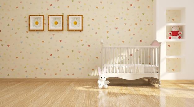 Minimalistyczne nowoczesne wnętrze pokoju dziecinnego