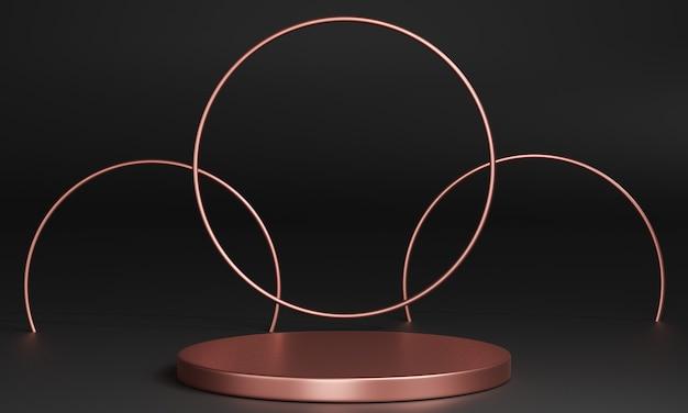 Minimalistyczne podium w kolorze różowego złota 3d, cokoły, stopnie w tle i okrągła ramka z różowego złota. makieta. renderowanie 3d.