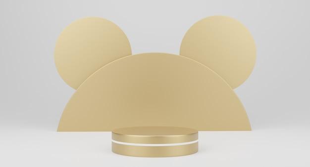 Minimalistyczne podium w kolorze złotym 3d, cokoły, stopnie na białym tle i okrągła złota dekoracja. makieta. renderowanie 3d.
