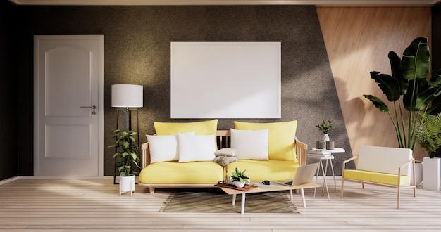 Minimalistyczne wnętrze, meble na sofę i rośliny, nowoczesny design w czarnym pokoju. renderowanie 3d
