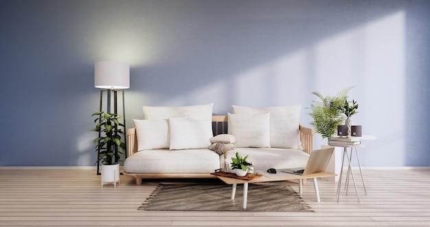 Minimalistyczne wnętrze, meble na sofę i rośliny, nowoczesny projekt pokoju z błękitnym niebem. renderowanie 3d