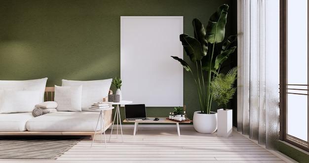 Minimalistyczne wnętrze, meble na sofę i rośliny, nowoczesny projekt zielonego pokoju. renderowanie 3d