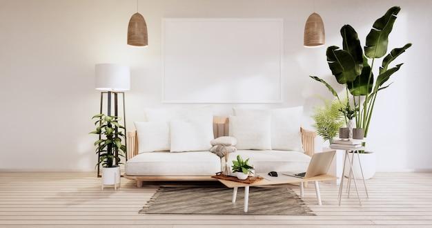 Minimalistyczne wnętrze, meble na sofę i rośliny, nowoczesny wystrój pokoju. renderowanie 3d