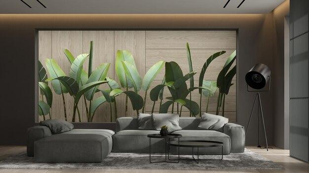 Minimalistyczne wnętrze nowoczesnego salonu renderowania 3 d