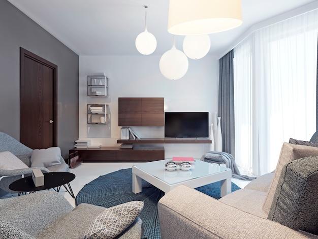 Minimalistyczne wnętrze salonu z kolorowymi, oryginalnymi ścianami i pięknymi wylewanymi betonowymi podłogami w kolorze białym.