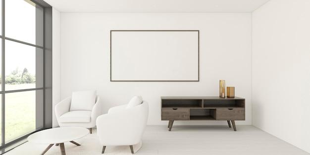 Minimalistyczne wnętrze z elegancką ramą i fotelami