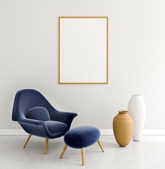 Minimalistyczne wnętrze z elegancką ramą i fotelem