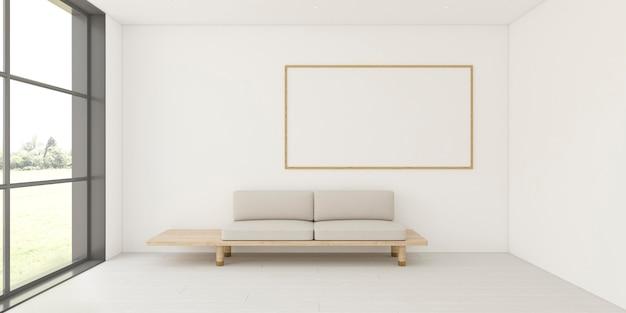 Minimalistyczne wnętrze z elegancką ramą i sofą