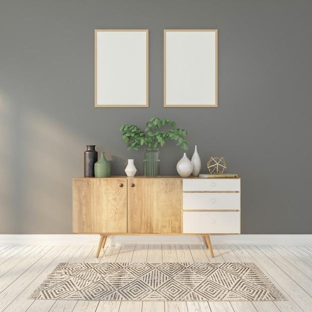 Minimalistyczne wnętrze z kredensem, szarą ścianą i ramkami do zdjęć