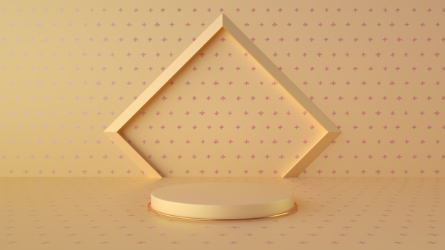 Minimalistyczne żółte i magenta podium do wyświetlania