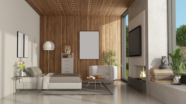 Minimalistycznie biała i drewniana sypialnia z kominkiem