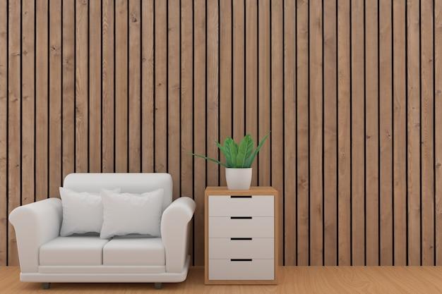 Minimalistyczny biały kanapa projekt z rośliną w drewnianym deska pokoju w 3d renderingu